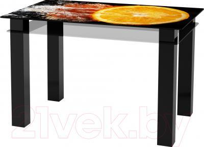 Обеденный стол Artglass Tandem 120 Апельсин (черный)