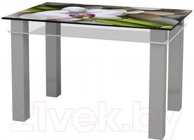 Обеденный стол Artglass Tandem 120 Орхидея белая (серый)