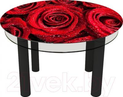 Обеденный стол Artglass Орхидея Розы (черный)