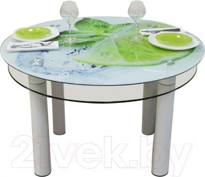 Обеденный стол Artglass Орхидея Лайм (белый)