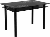 Обеденный стол Artglass Бриз Ветка (серый/черный) -
