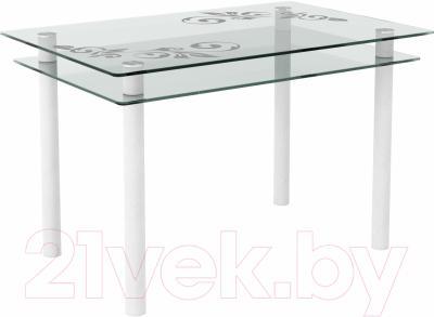 Обеденный стол Artglass Бриз Ветка (белый)