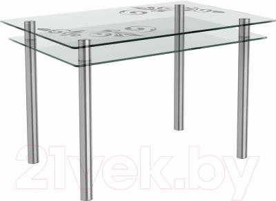 Обеденный стол Artglass Бриз Ветка (хром)