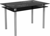 Обеденный стол Artglass Бриз Ветка (серый/хром) -