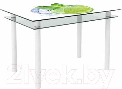 Обеденный стол Artglass Бриз Лайм (белый)