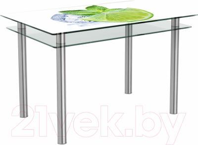Обеденный стол Artglass Бриз Лайм (хром)