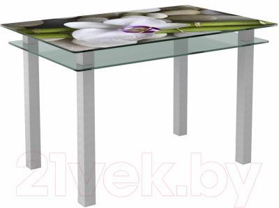 Обеденный стол Artglass Прима Орхидея белая