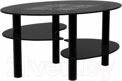 Журнальный столик Artglass Каскад Ромб (серый/черный)
