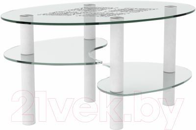 Журнальный столик Artglass Каскад Ромб (белый)