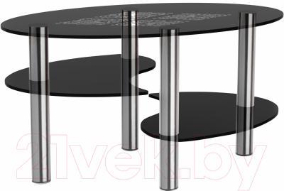 Журнальный столик Artglass Каскад Ромб (серый/хром)