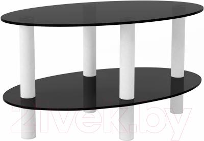 Журнальный столик Artglass Вальс (серый/белый)