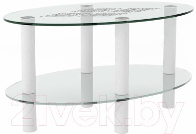 Журнальный столик Artglass Вальс Ромб (белый)