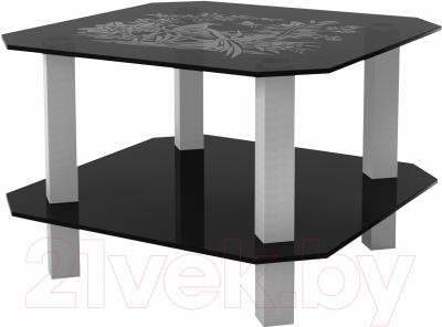 Журнальный столик Artglass Квадро Птица (серый)