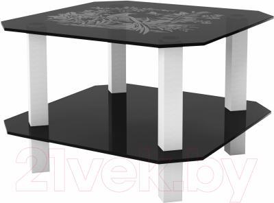 Журнальный столик Artglass Квадро Птица (серый/белый)