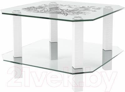 Журнальный столик Artglass Квадро Птица (белый)