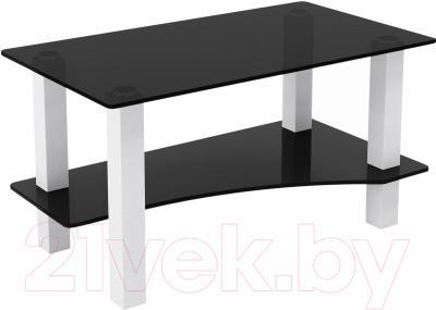 Журнальный столик Artglass Премьер (серый/белый)