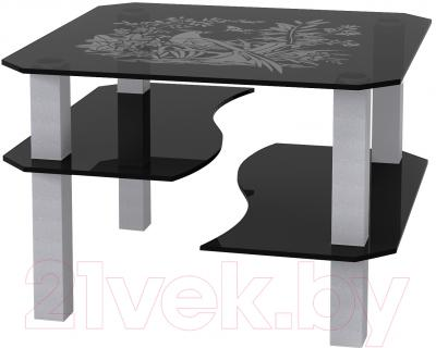 Журнальный столик Artglass Дельта Птица (серый)
