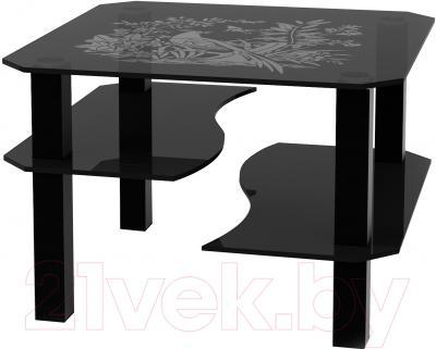 Журнальный столик Artglass Дельта Птица (серый/черный)
