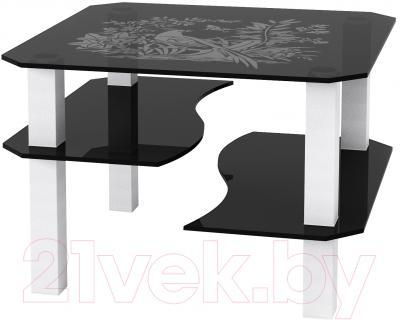 Журнальный столик Artglass Дельта Птица (серый/белый)