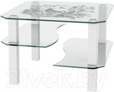 Журнальный столик Artglass Дельта Птица (белый)