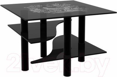 Журнальный столик Artglass Консул Птица (серый/черный)