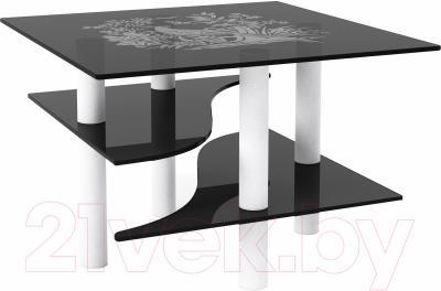 Журнальный столик Artglass Консул Птица (серый/белый)