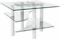 Журнальный столик Artglass Консул Птица (белый) -