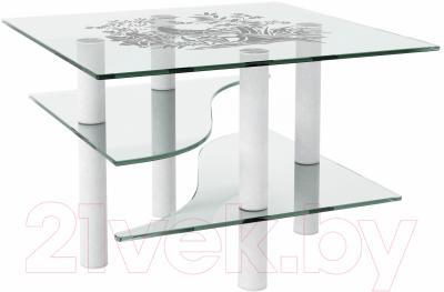 Журнальный столик Artglass Консул Птица (белый)