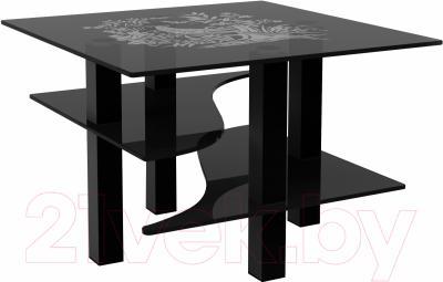 Журнальный столик Artglass Александр Птица (серый/черный)