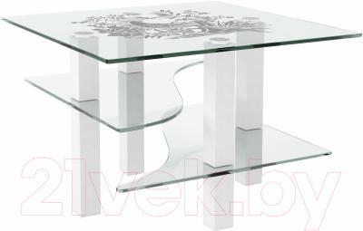 Журнальный столик Artglass Александр Птица (белый)