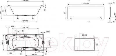 Ванна акриловая Ravak Campanula II 170x75 (CA21000000) - схема