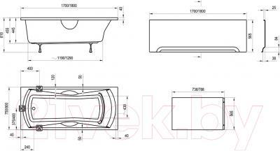 Ванна акриловая Ravak Sonata 75x170 (C901000000) - схема