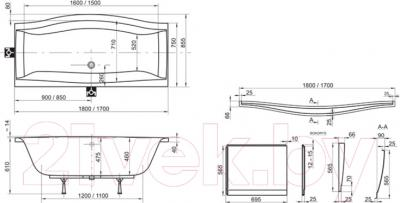 Ванна акриловая Ravak Magnolia 75x180 (C601000000) - схема