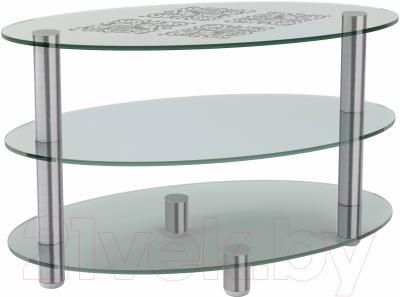 Журнальный столик Artglass Olivia Ромб (хром)