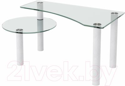 Журнальный столик Artglass Парус (белый)