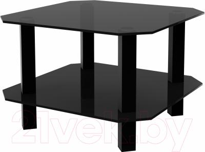 Журнальный столик Artglass Квадро (серый/черный)
