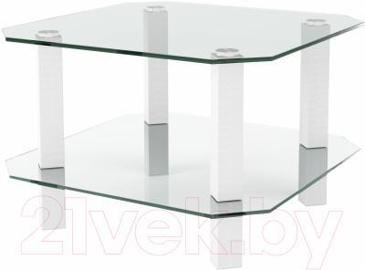 Журнальный столик Artglass Квадро (белый)