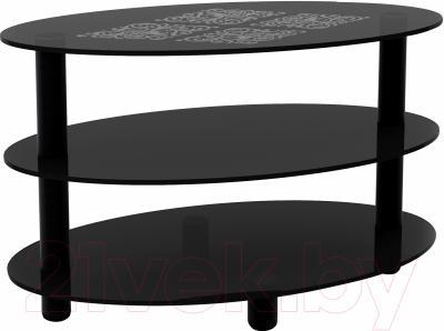 Журнальный столик Artglass Olivia Ромб (серый/черный)