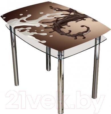 Обеденный стол Artglass Comfort Pole Шоколад (хром)