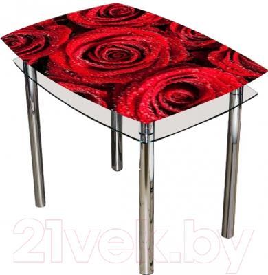 Обеденный стол Artglass Comfort Pole Розы (хром)