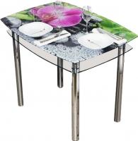 Обеденный стол Artglass Comfort Pole Орхидея розовая (хром) -