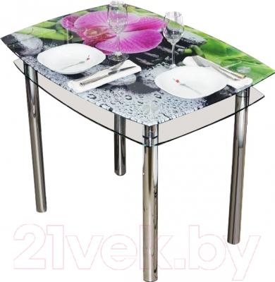 Обеденный стол Artglass Comfort Pole Орхидея розовая (хром)