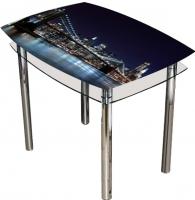 Обеденный стол Artglass Comfort Pole Ночной город (хром) -