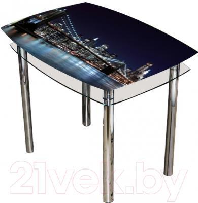 Обеденный стол Artglass Comfort Pole Ночной город (хром)