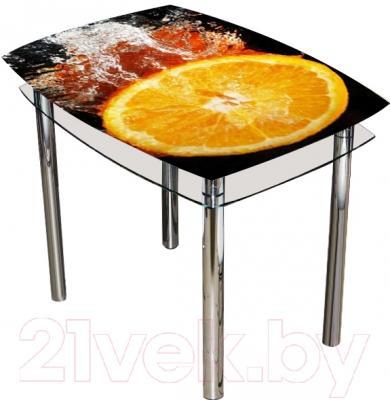 Обеденный стол Artglass Comfort Pole Апельсин (хром)