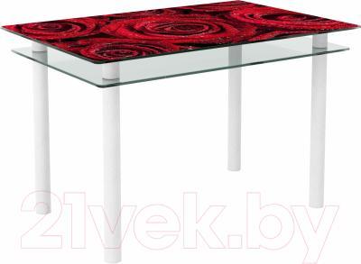 Обеденный стол Artglass Сказка Розы (белый)