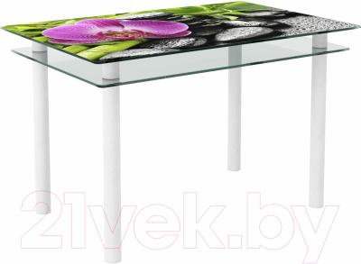 Обеденный стол Artglass Сказка Орхидея розовая (белый)