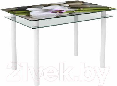 Обеденный стол Artglass Сказка Орхидея белая (белый)