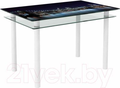 Обеденный стол Artglass Сказка Ночной город (белый)