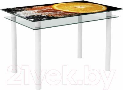 Обеденный стол Artglass Сказка Апельсин (белый)
